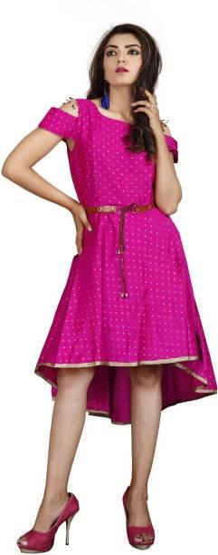 DM MART Women High Low Pink Dress