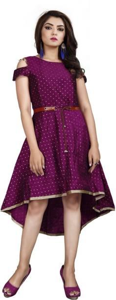 DELIZIA Women High Low Purple Dress