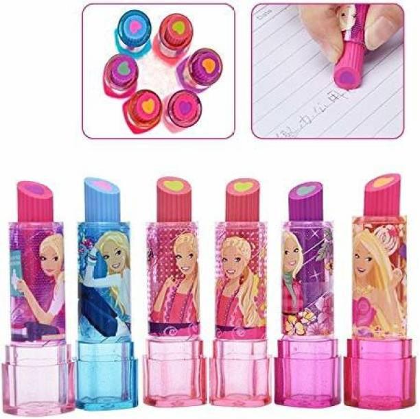 poksi LIPSTICK ERASERS FOR KIDS BEAUTIFUL CUTE ERASERS (6 ERASERS ) ( MULTICOLOR) Non-Toxic Eraser