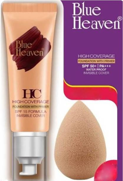 BLUE HEAVEN High Coverage Foundation With Primer & SPF 50 ! PA+++ (Caramel Mocha) + Free Beauty Blender Foundation
