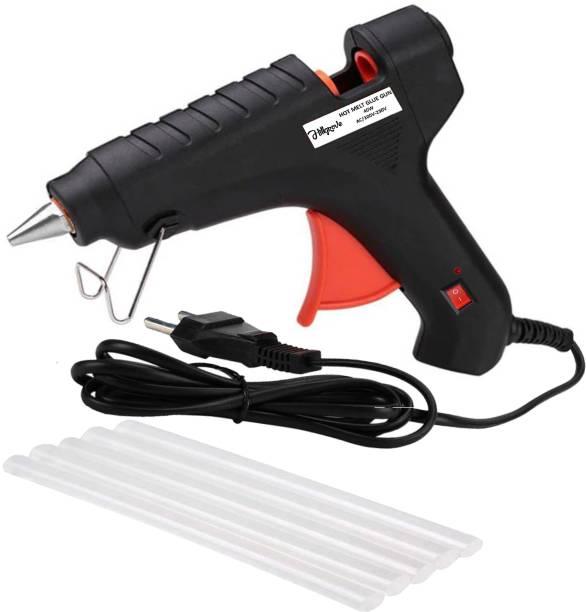 Hillgrove High Power 40Watt Black Hot Glue Gun With 5 Pcs Hot Melt Glue Stick for Craft, Art, Decoration Work Standard Temperature Corded Glue Gun