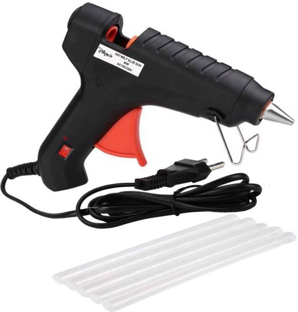 Hillgrove 40Watt Black Hot Glue Gun With 5 Pcs Hot Melt Glue Stick for Craft, Art, Decoration Work Standard Temperature Corded Glue Gun