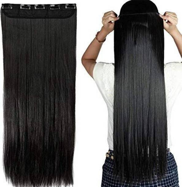 New Jaipur Handicraft Hukum Mere Aaka 24 inch Natural Black  Extension for Women / Synthetic Straight  Extension For Girls Hair Extension