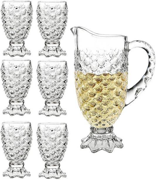 Qianli Pineapple Design glass jug set Jug Glass Set