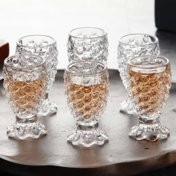 Badmash Enterprise (Pack of 6) Pineapple glass Wine glass Juice glass Fish Scale Design Glass Set, 180ml, Set of 6, Transparent Glass Set
