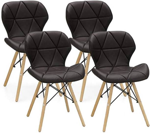 Urbancart Side Chair with Padded Seat & Solid Wood Legs Ideal for Dining, Cafeteria, Restaurant, Bar(Black)(Set of 4) Solid Wood Living Room Chair