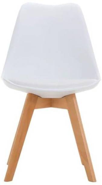 Urbancart Backrest and Padded Seat Cushion Side Chairs with Sturdy Wooden Legs for Home Kitchen, Living Room, Office, Cafeteria, Restaurant, Bar.(White) Plastic Living Room Chair
