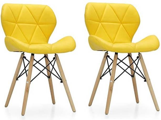 Urbancart Side Chair with Padded Seat & Solid Wood Legs Ideal for Dining, Cafeteria, Restaurant, Bar(Yellow)(Set of 2) Solid Wood Living Room Chair