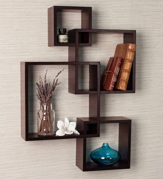 Eco Handicrafts Wooden wall shelf |Wooden wall shelves | Rack shelf ( Number of shelves 4 BROWN ) Wooden Wall Shelf