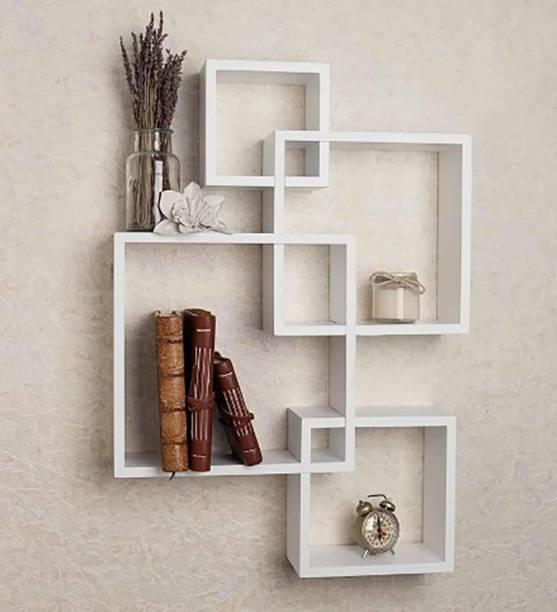 Eco Handicrafts Wooden wall shelf | wall shelves | Rack shelf ( Number of shelves 4 white ) Wooden Wall Shelf