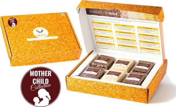 Namma Nellu Traditional Rice Gift Box - Mother and Child Collection (Includes 6 Rice Varieties) - Kuzhiadichan, Seeraga Samba, Navara, Neelan Samba, Mullan Kaima & Pisini Red Rice (Medium Grain, Unpolished)