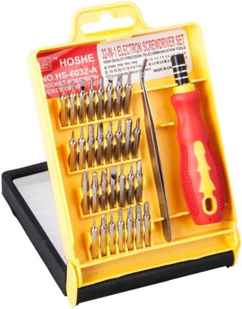 JACKLY 32 Pieces Screw Driver Set Magnetic Repair Tool Kit a5 Ratchet Screwdriver Set