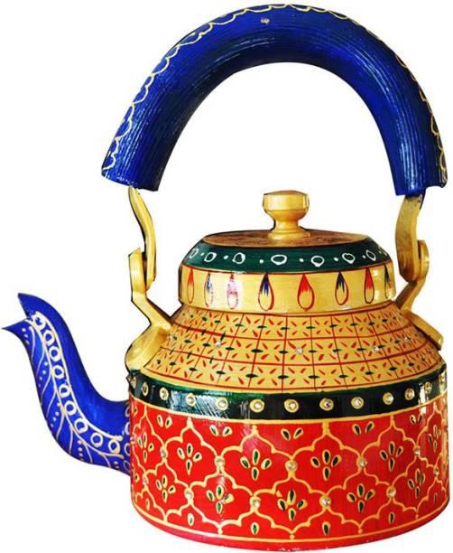 AppyNature AppyNature Handpainted Traditional Rajasthani Aluminium Decorative Colourful Tea Kettle (1Ltr, 21cm) From AppyNature (Aluminium, Multicolor) Decorative Showpiece  -  21 cm