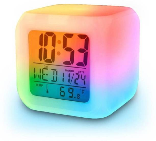 baluda Digital Mini 7 Colors Change Digital Alarm Clock Snooze Led Light Clock Talking Electronic Table Watch Clock