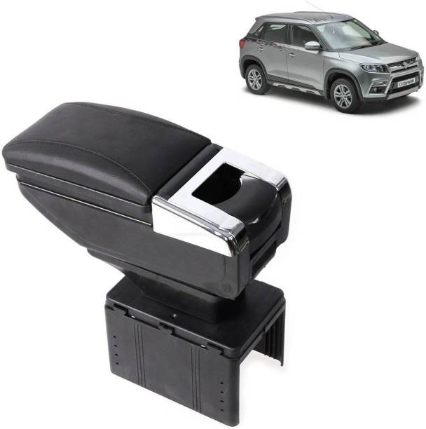 aksmit Arm Rest Console Black With Glass Holder And Ashtray For Vitara Brezza_NAR155 Car Armrest