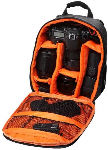 Priyam Waterproof DSLR Backpack Camera Bag, Lens Accessories Carry Case & Others-Ideal for Professional Photographers (Orange)  Camera Bag