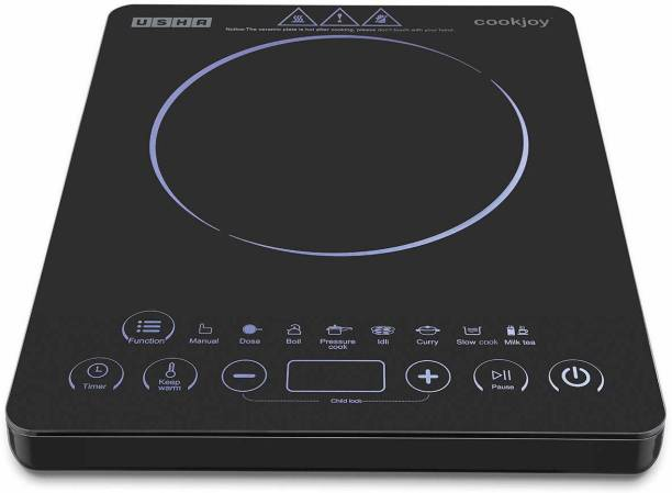 USHA High-Quality 2000W Cook-Joy (3820)with Touch Panel Automatic Induction Cooktop