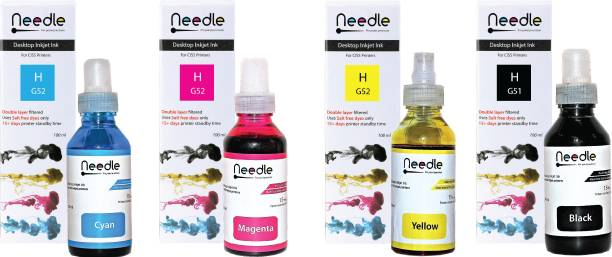 Needle HP GT 51/52 Ink tank inkjet compatible with HP 5810, 5811, 5820, 5821, 115, 116, 117, 310, 315, 319, 410, 415, 416, 419, 457 (100 ml *4) Black + Tri Color Combo Pack Ink Bottle