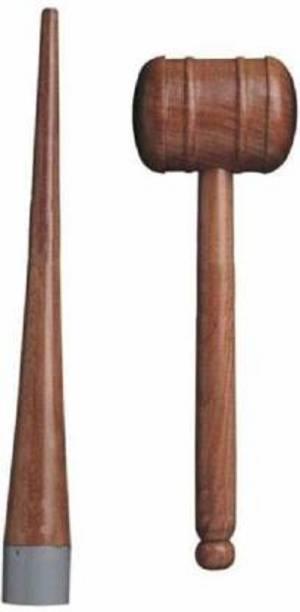 Kiraro Set Of Cricket Bat Double Sided Knocking Hammer with Cricket Bat Handle Cone Wooden Bat Mallet
