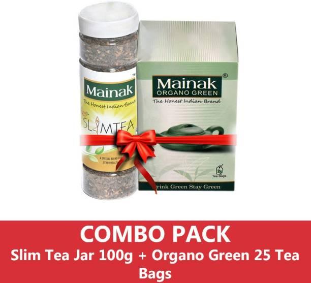 Mainak Slim Tea Jar 100g + Unflavoured Green Tea Bags Plastic Bottle