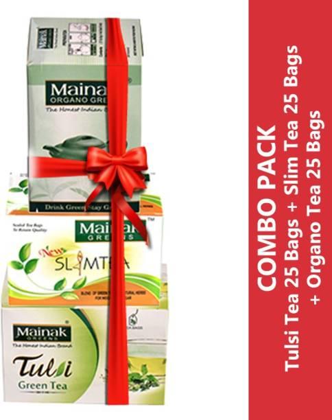 Mainak Slim Tea + Tulsi Tea + Organo Unflavoured Green Tea Bags Box