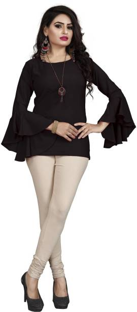 EDGETOUCH Casual Solid Women Black Top
