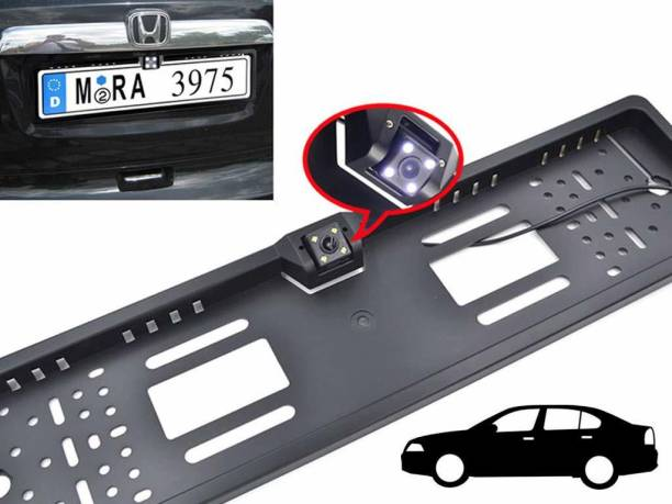 AutoBizarre Car Number Plate LED Night Vision Camera With Number Plate Frame For Reverse Parking and Rear View - Universal For All Cars Vehicle Camera System