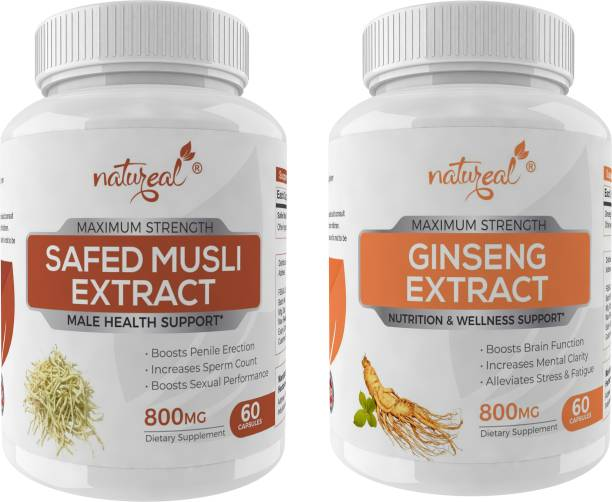 Natureal Male Health Combo of Safed Musli Extract & Ginseng Extract-800 Mg Capsules Each