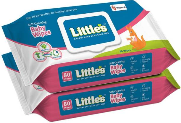 Little's Soft Cleansing Baby Wipes with Aloe Vera, Jojoba Oil and Vitamin E, Lid Pack