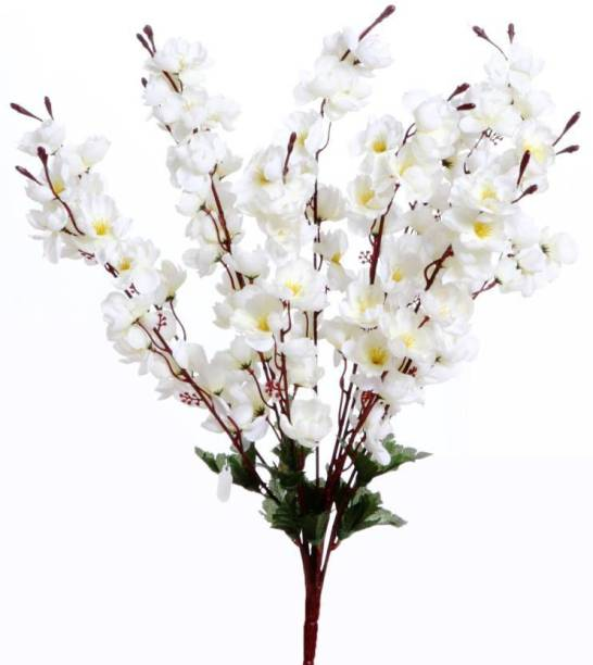 KAYKON Beautiful Peach Blossom Artificial White Orchid Flower Bunch - 20 inch White Orchids Artificial Flower