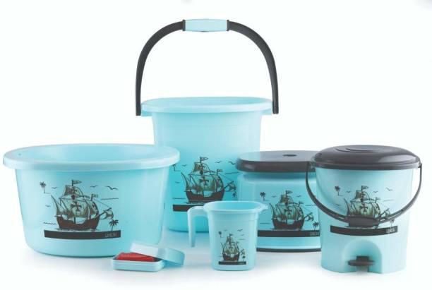 UTTARZONE 6 pcs Bathroom Accessories Set Plastic Bath Set Bathroom Bucket, Mug, Stool, Soap Case, Tub and Dustbin for Home, Kitchen & Bathrooom 20 L Plastic Bucket