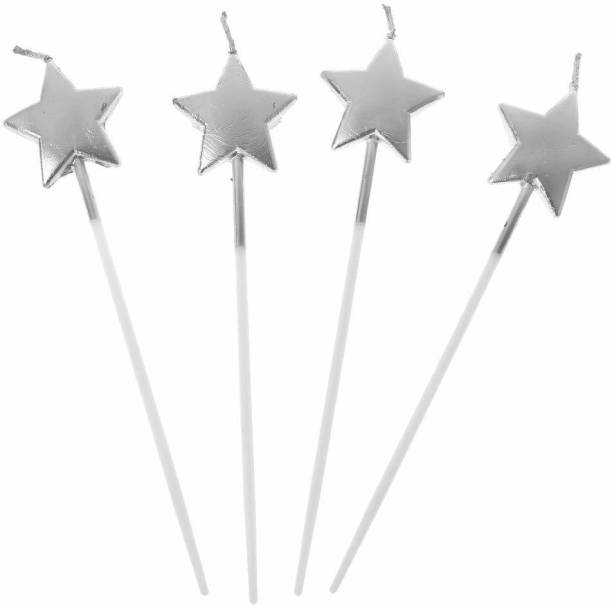 gorgeous moment Candles, Star Shape Cake Candles for Adults/Kids, 4 Pack (Silver, Star) Candle