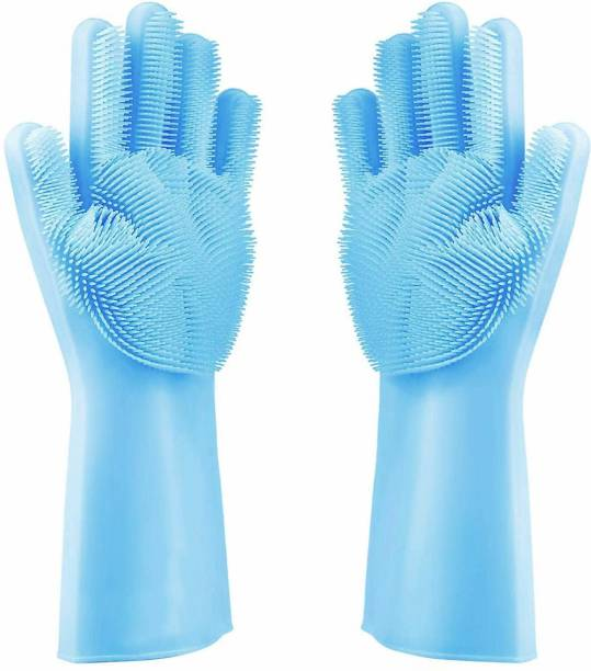 tfm Magic Silicone Scrubbing Gloves, Scrub Cleaning Gloves with Scrubber for Dishwashing and Pet Grooming, Latex Free Wet and Dry Glove