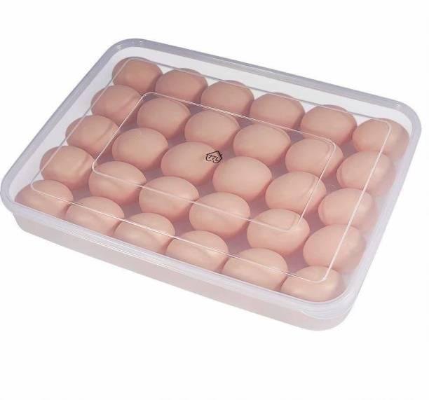 Iktu 30 Eggs Dispenser Holder Eggs Storage Container Box Large 2.5 Dozen Capacity Plastic Egg Tray Holder with Lid (13.5 x 10 x 2.4 Inch) (1 Piece)  - 2.5 dozen Plastic Egg Container