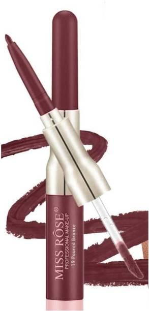 MISS ROSE Lip Liner 2 in 1 LipGloss Shade #19Poured Bronze Long Lasting Matte Lip Gloss