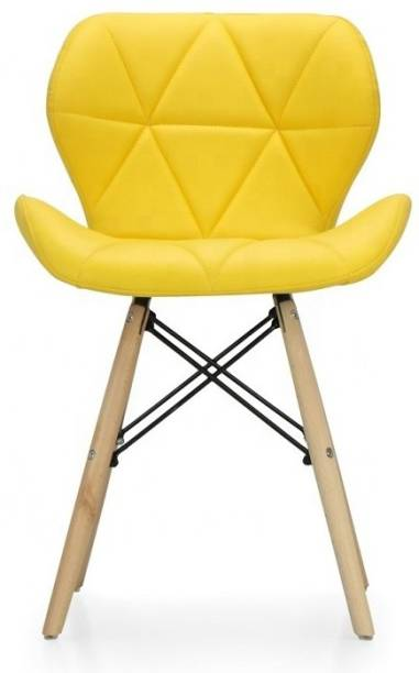 Urbancart Side Chair with Padded Seat & Solid Wood Legs Ideal for Dining, Cafeteria, Restaurant, Bar(Yellow) Solid Wood Living Room Chair