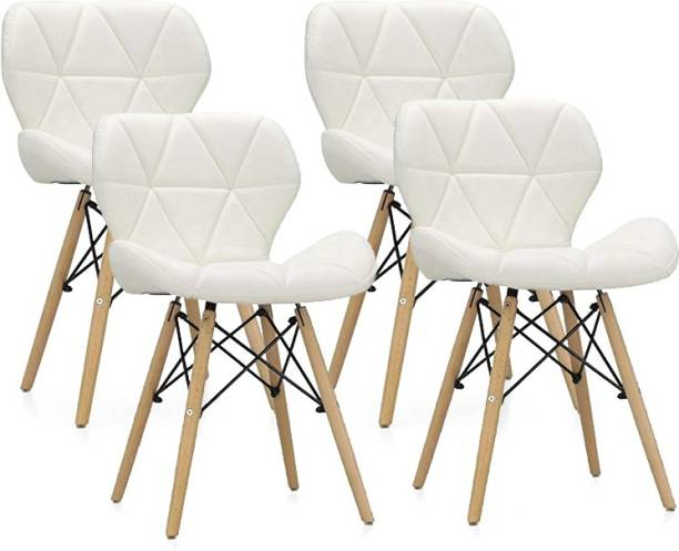 Urbancart Side Chair with Padded Seat & Solid Wood Legs Ideal for Dining, Cafeteria, Restaurant, Bar(White)(Set of 4) Solid Wood Living Room Chair
