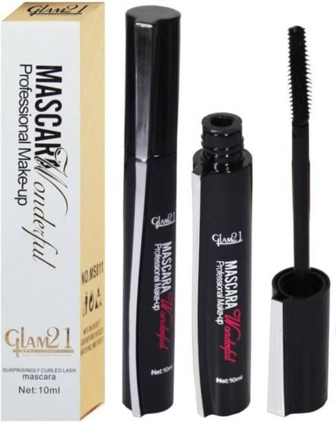 glam21 Professional Makeup Mascara 10 ml BLACK (pack of 2) 20 ml