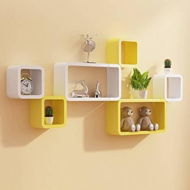 Maaz Handicrafts White & Yellow Cube 6 &Storage Wall Shelf Solid Wood Display Unit