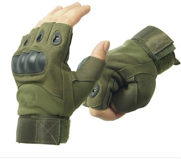 NIRVA Fingerless Hard Knuckle Half Finger Tactical Sports Gloves Cycling Gloves