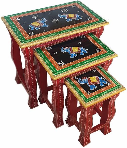 Pranjals House Rajasthani Handicraft Elephant Design Stool Set of 3 Bedside Nesting Table Set of 3 Stool for Living Room Living & Bedroom Stool