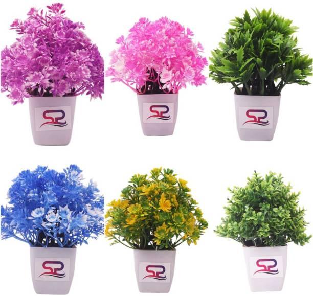 SSP Artificial flower, artificial plant, home decor, showpiece, office, gift Multicolor Wild Flower Artificial Flower  with Pot