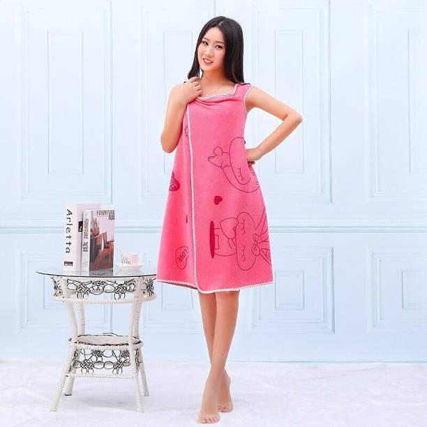 WANQLYN Dark pink Free Size Bath Robe