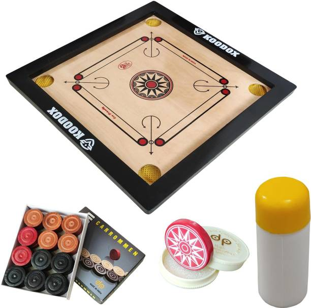 KOODOX Carrom Board Set- Full Size (Board Size: 32 X 32 Inch, Border: 1.5 Inch) 81.28 cm Carrom Board