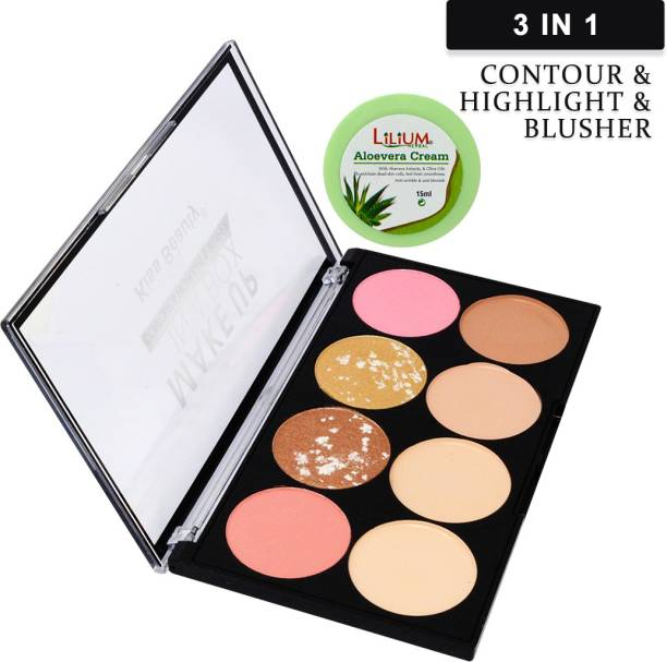 Kiss Beauty 3in1 Contour, Highlighter and Blusher Palette, 9728, Multicolor, 25g with Lilium Aloevera Cream Concealer