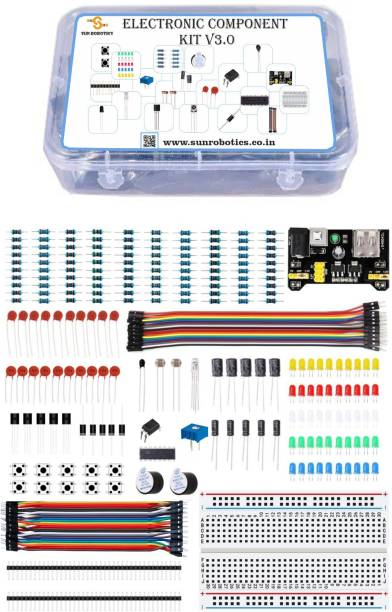 SunRobotics Electronics Component Pack with resistors, Switch, LEDs, Potentiometer for Arduino Uno, MEGA2560, Raspberry Pi (ELE-V3.0) Electronic Components Electronic Hobby Kit