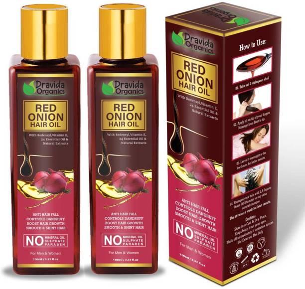 Dravida Organics Red Onion Hair Oil Preventing Hair Loss & Promoting Hair Growth Pack of 2 Hair Oil