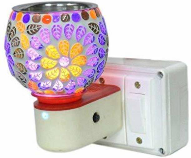 ROGZA Multipurpose Direct Plug in Beautiful Ceramic Kapoor Dani Night lamp Camphor Burner - Multicolor- Free Kapur Tablets Ceramic Incense Holder