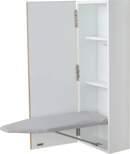 Invisible Bed Wall Mounted Wooden Cabinet with Foldable ironing table (Color: Dessert Walnut) Ironing Board