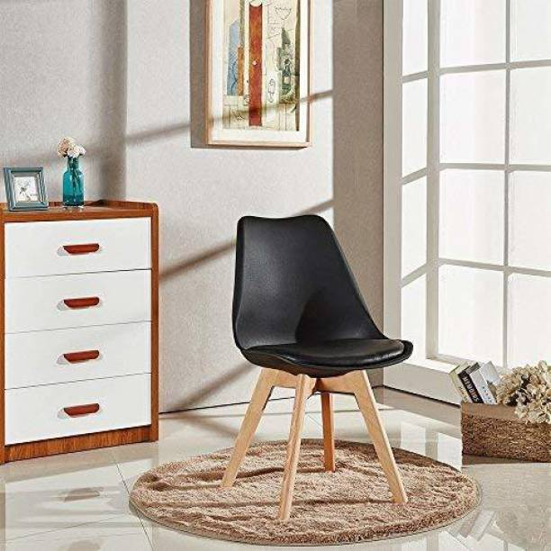 Urbancart Backrest and Padded Seat Cushion Side Chairs with Sturdy Wooden Legs(Black)(Set of 2) Solid Wood Living Room Chair